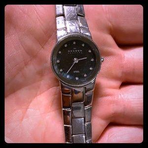 Skagen ladies stainless steel watch w/ black dial